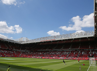 A general view of the pitch at Old Trafford.