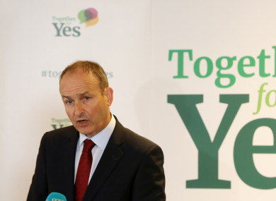 Fianna Fáil leader Micheal Martin is campaigning for a Yes vote.