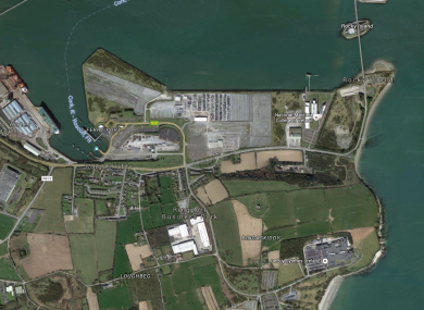 An aerial view of the proposed site at Ringaskiddy.