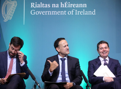 The Minister for Housing, Planning and Local Government Eoghan Murphy, Taoiseach Leo Varadkar and Minister for Finance, Public Expenditure and Reform Paschal Donohue at the press briefing launch of Ireland Project 2040.