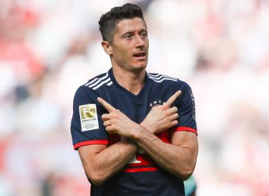 Lewandowski celebrates: Polish striker struck 41 times for Bayern this season.
