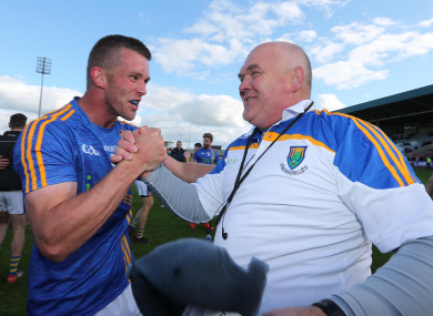 Wicklow's Rory Finn and John Evans celebrate at the final whistle of their Offaly game.