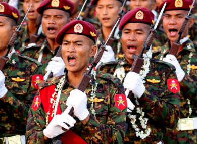 Soldiers march during the parade of the 73rd Armed Forces Day in Nay Pyi Taw, Myanmar in March.