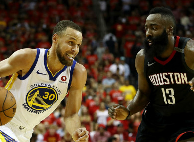 Face off: Stephen Curry, James Harden.
