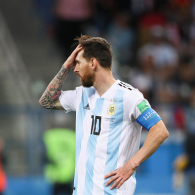Lionel Messi dejected.