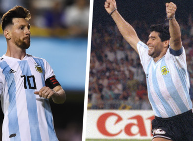 Lionel Messi (left) and Diego Maradona.