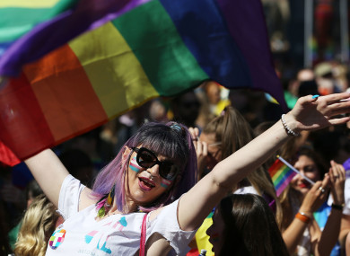 People take part in the Pride Parade in Dublin.