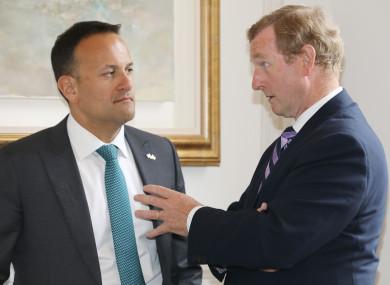Former Taoiseach Enda Kenny with Taoiseach Leo Varadkar at the European of the Year Award.