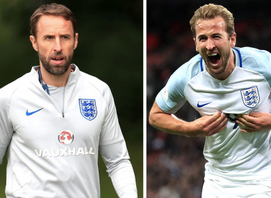 Gareth Southgate (left) and Harry Kane, who is the World Cup's current top scorer with four goals.
