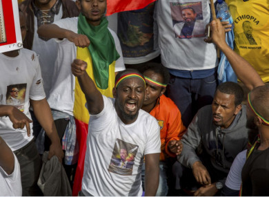 People rally in solidarity with Prime Minister Abiy Ahmed in Meskel Square in Addis Ababa today.