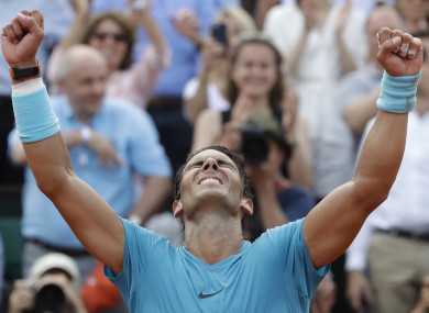 Nadal after wrapping up the victory.