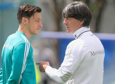 Ozil and Low at Germany's base in Moscow.