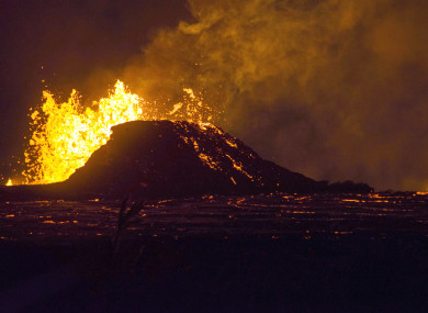 Lava erupts from a fissure in the Leilani Estates.
