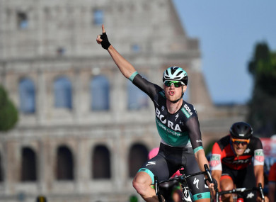 Bennett celebrates after winning the final stage of the Giro d'Italia last Sunday.