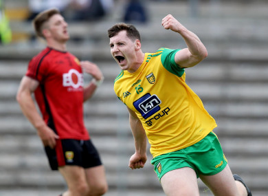 Jamie Brennan celebrates scoring a goal for Donegal.