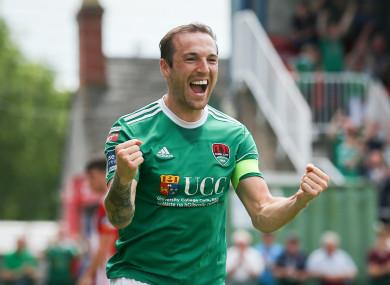Cork's Karl Sheppard celebrates scoring a goal.