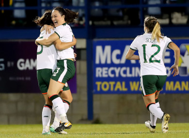 Campbell celebrating her goal against Northern Ireland last year.