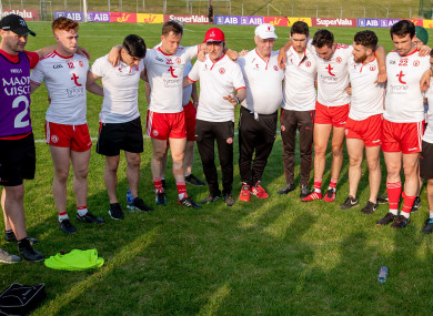 Mickey Harte with his Tyrone players after today's game.