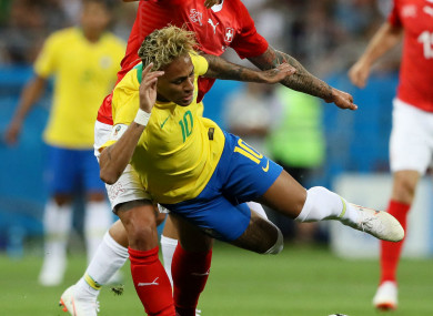 Neymar was heavily marked during Brazil's opening game on Sunday.