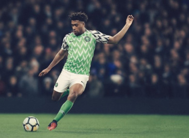 Arsenal's Alex Iwobi pictured in Nigeria's new World Cup kit.