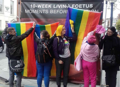Radical Queers Resist block abortion imagery by the Irish Centre for Bio-Ethical Reform.