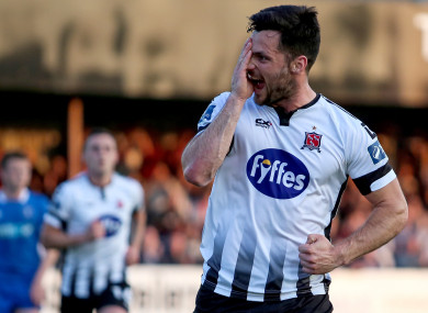 Pat Hoban celebrates scoring against Limerick on Friday night.