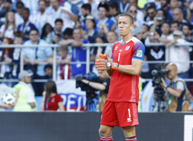 Hannes Halldorsson pictured during Argentina's game with Iceland.