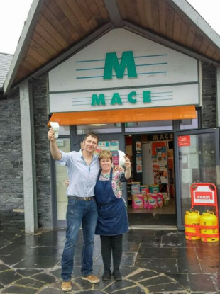 John Brady and Mandy Gazely outside the Mace store in Kilmore Quay.