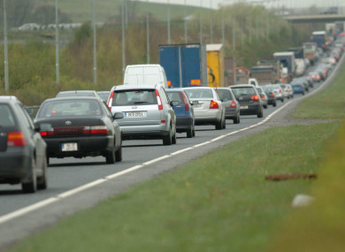 Traffic delays on the southbound lane of the M50 approaching the N3 junction.