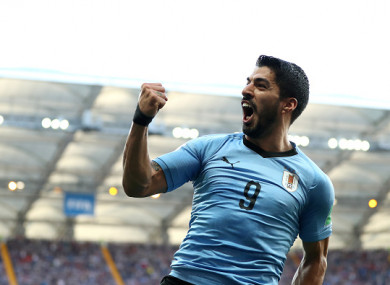Suarez celebrates giving Uruguay the lead at the Rostov Arena on Wednesday.