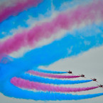 The Red Arrows perform during the Weston Air Festival at Weston Bay, Weston-super-Mare.<span class=