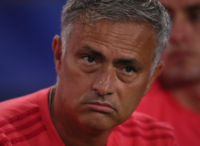 Mourinho pictured during Man United's International Champions Cup game with AC Milan on Wednesday.