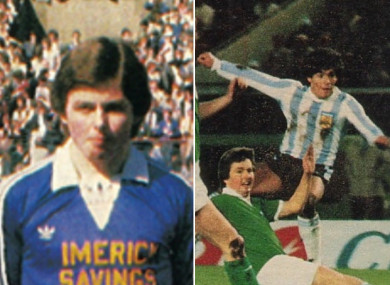 Nolan pictured before the 1982 FAI Cup final and in action against Maradona.