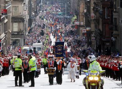 Marchers during the annual Orange Walk in Glasgow.