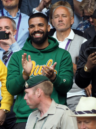 File Photo. Rapper Drake at Wimbledon earlier this month.