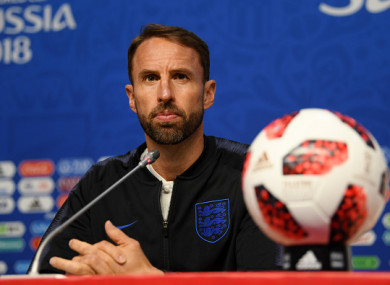Southgate speaking at England's pre-match press conference yesterday.
