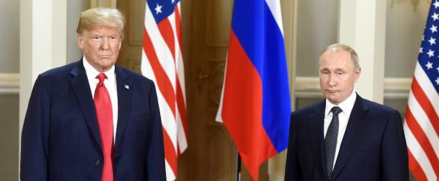 US President Donald Trump and Russian President Vladimir Putin on Monday.