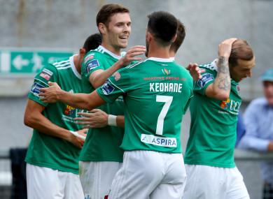 Cork's Garry Buckley celebrates scoring a goal.