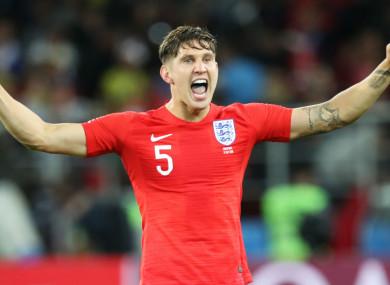 John Stones celebrates England's win over Colombia