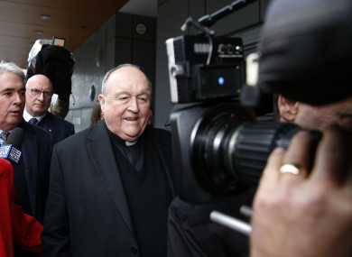 The Archbishop of Adelaide, Philip Wilson leaves Newcastle Local Court two weeks ago.