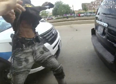 Screengrab from the body cam video footage released by police of the incident.