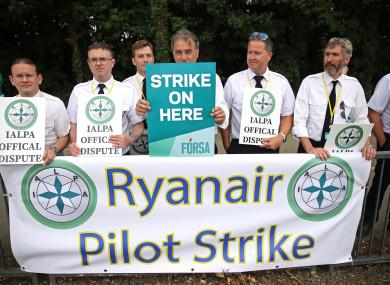 Ryanair pilots picket outside Dublin Airport.