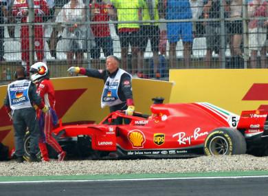 Sebastian Vettel crashes at Hockenheim