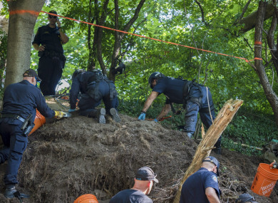 Toronto Police Service excavate the back of property along Mallory Cres. in Toronto after confirming they have found human remains during an investigation in relation to alleged serial killer Bruce McArthur on 5 July