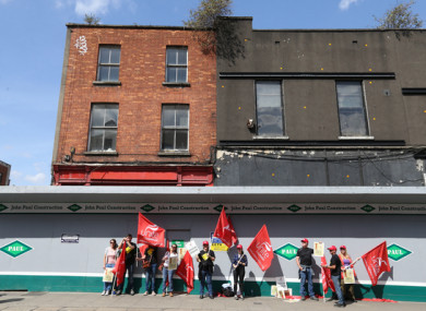 Archaeologists in Dublin city centre on a day-long strike last Thursday.