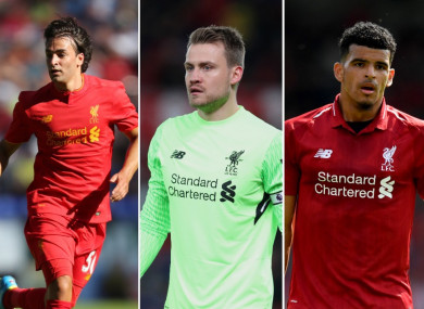 Lazar Markovic, Simon Mignolet and Dominic Solanke.