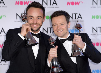 Anthony McPartlin (left) and Declan Donnelly at the National Television Awards  in London in January.