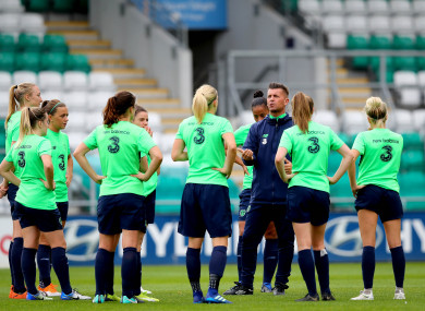 Manager Colin Bell and the Ireland squad pictured training at Tallaght on Thursday.