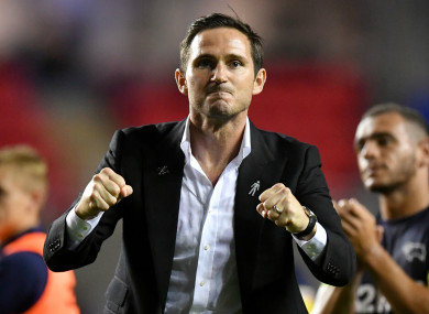 Derby County manager Frank Lampard celebrates after his side's 2-1 win over Reading.