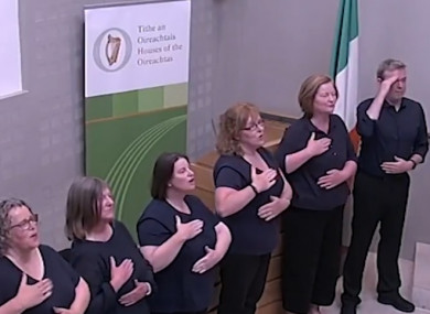First performance of the ISL of the National Anthem last month